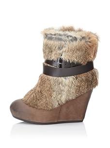 Ash Women's Hannah Rabbit Fur Wedge Boot (Brown)