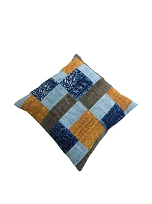Modelli Creations Natural Fiber Square Dhurrie Pillow, Blue