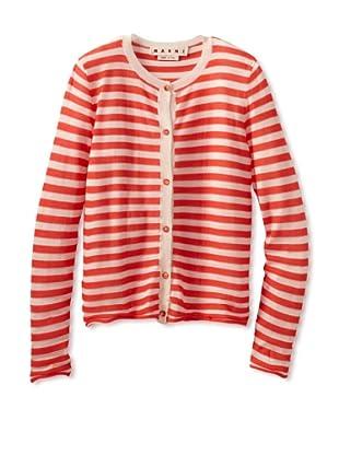 MARNI Women's Striped Crewneck Cardigan (Pink/White)