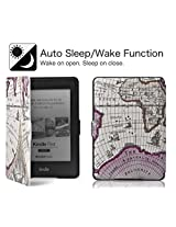 Amazon Kindle Paperwhite Case Cover, PREMIUM MAP {Rose Red} Lightest Thinnest Protective Leather Case Cover with Auto Wake/Sleep for Amazon Kindle Paperwhite 2012, 2013, 2014 and 2015 New 300 PPI