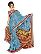 Chinco Saree With Blouse Piece (P1003-C_Blue)