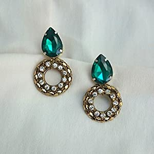 No Strings Attached Emerald Swaroski Crystal Drop Halo Statement Earrings