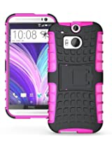 JKase DIABLO Tough Rugged Dual Layer Protection Case Cover with Build in Stand for HTC M8 / HTC One 2 - Pink