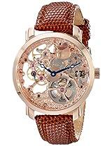 Akribos XXIV Mens AK406RG Bravura Davinci Mechanical Rose Gold-Tone Watch with Brown Leather Band
