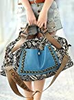 Onlyurs Retro Style Canvas Rivet Decorated Portable Carryall Bag
