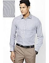 Navy Blue Striped Slim Fit Formal Shirt