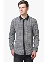 Black Checked Regular Fit Casual Shirt Yepme