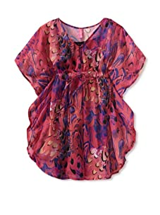 Hype Girl's Feather Montage Dress (Fuchsia)