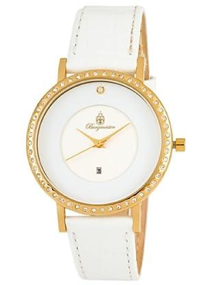 Burgmeister Umbria BM601-122g/w Damen Uhr IP Gold weiß Datum Swarovski-Kristalle Leder weiß