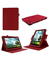 rooCASE Dual-View (Red) Folio Case Cover for ASUS MeMo Pad Smart 10.1-Inch ME301T Tablet - Support Landscape and Portrait View