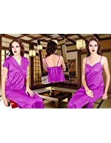 Odishabazaar Women's Silk Satin Nighty Overcoat Purple 2pc Set Sleepwear Sexy Dress-Free Size