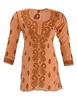 Lucknow Chikan Industry Women's Cotton Regular Fit Kurti (Lci-335, Orange, L)