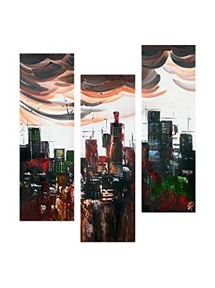 Arte Dal Mondo Leinwandbild 3er Set Edgar Ramirez Città Astratta