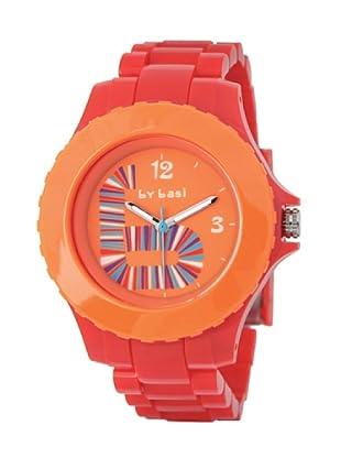 BY BASI A1012U03 - Reloj Unisex movimiento de cuarzo con correa de policarbonato Rojo / Naranja