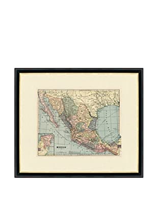 Vintage Print Gallery Antique Mexico Map, 1892-1895