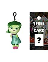 """Disgust: ~8"""" Disney Pixar Inside Out Zippered Clip Plush Doll + 1 Free Classic Disney Trading Card Bundle"""