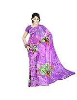 Chandra Silk Mills Women's Art Silk Saree (Lavender)