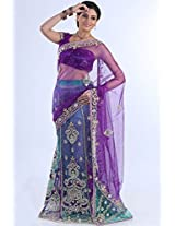 Amethyst Violet and Jungle Green Blue Net Embroidered Lehenga Style Saree