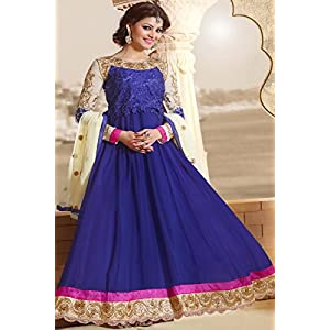 Blue Designer Embroidered Long Anarkali Suit