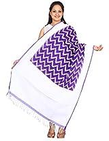Purple Pochampally Or Ikat Cotton Handloom Dupatta