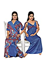 Indiatrendzs Blue Lace Sexy Hot Nighty Women's Nighties 2pc Set nightgown -Freesize