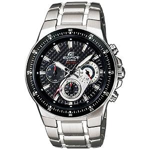 Casio Men's EF552D-1AV Silver Stainless-Steel Quartz Watch with Black Dial