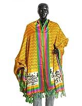 DollsofIndia Yellow Bhagalpuri Silk Dupatta with Multicolor Border and Worli Print on Pallu - Silk Tussar - Yellow, Multicolor