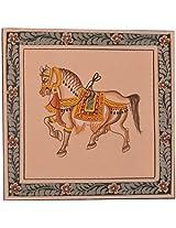 Handmade Greeting card -Miniature painting of Horse on silk cloth . (8 cm x 8 cm, P03)