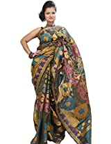 Exotic India Burnt-Olive Banarasi Saree with Woven Flower and Golden Thr - Green