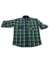 LITTLE MAN Cotton Boy's Shirt (LM4C1_16 , Green, 16)