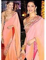 Nairiti Deepika Peach color Bollywood Saree