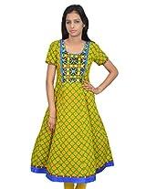 Amour Women's Cotton Designer Anarkali Kurti - (429_Yellow_L)