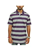 Duke Mens Poly Cotton Button Front T-Shirt Purple (Large)