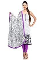 White Art Georgette Printed Embroidery Suit Dupatta Unstitched