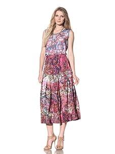Gregory Parkinson Women's Tiered Silk Linen Skirt (Violet/Petals)