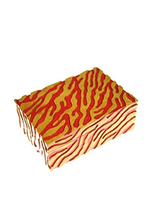 The Niger Bend Rectangular Soapstone Box with Zebra-Pattern Design, Red
