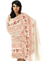 Exotic India Ivory Hindu Prayer Shawl with Printed Sri Ram Jai Ram Jai Jai Ram M - Color Pearled IvoryColor Free Size
