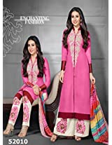 Rozdeal Women Georgette Embroidered Unstitched Long Sleeve Pink Anarkali Suit