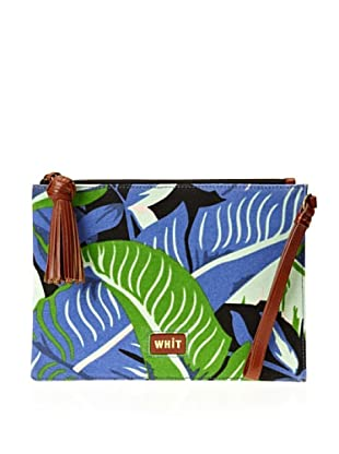 WHIT Women's Banana Leaf Clutch, Blue Multi