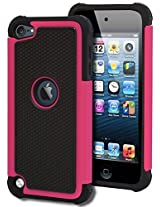 iPod Touch 5 Case, Bastex Heavy Duty Hybrid Protective Case - Soft Black Silicone Cover with Black and Pink [Shock] Design Case for Apple iPod Touch 5