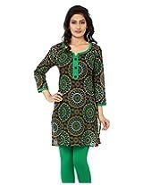 Anekaant Women's Cotton Printed Green 3/4th Sleeve Kurti