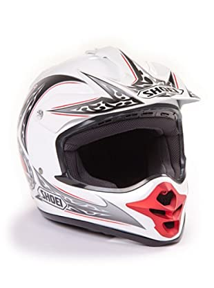 Shoei Casco V-Moto Grafica (Blanco / Plata)