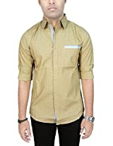 AA' Southbay Men's Beige Printed 100% Premium Cotton Long Sleeve Party Casual Shirt