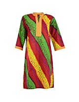 Karni Women's Cotton Green & Red & Yellow Kurti