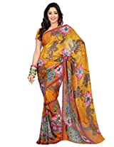 Admyrin Dark Yellow Georgette Printed Saree with Blouse Piece