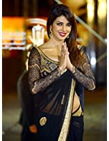 Priyanka Chopra Morocco Black Net Saree
