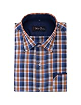 Your Desire Shirts Men Cotton Orange and Dark Blue Formal Shirt (Size 38)