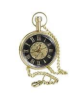 Antique Hollow Case Retro Roman Numerals Dial Mechanical Pocket Watch Brass Metal - 1.8 Inch