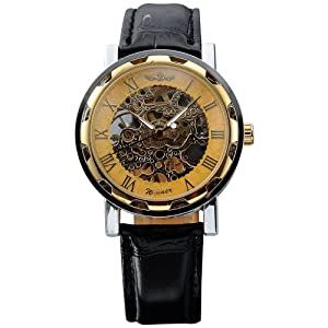 AMPM24 Hot Mechanical Analog Skeleton Golden Dial Mens Sport Leather Wrist Watch Gift PMW029