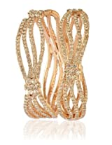 Aria Wedding collection Gold Plated Rhinestone Round Bangle for Women